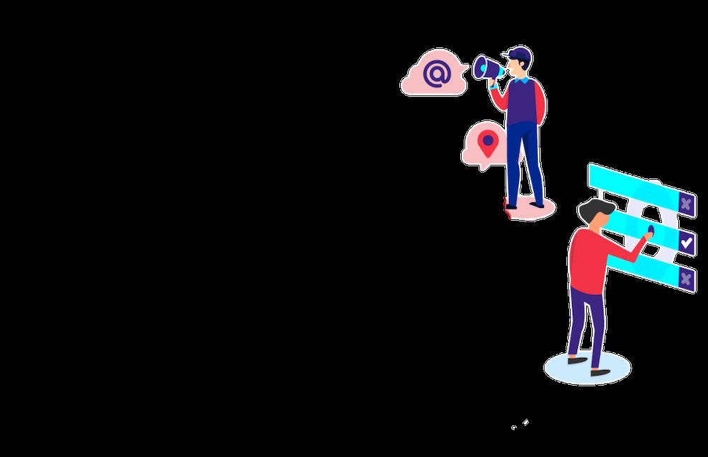 icone di un uomo con megafono e uomo che cerca su internet